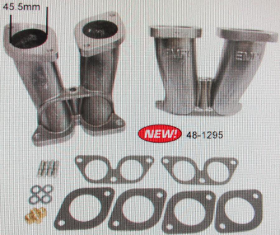 manifold set for dual carbs 44 hpmx, idf Empi 356/912 conversion