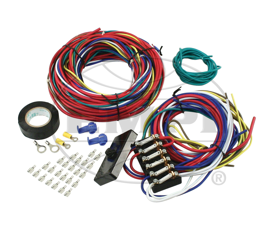 wiring harness universal w/ 6 fuse box, fuses, wire, ends, fittings, tape &  instructions