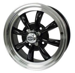 rim close 4 pattern 8 spoke Empi gloss black & polished alloy 15 x 5.5 GT-8