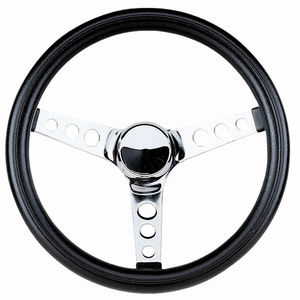 "steering wheel 12 1/2"" steel chrome 3 spoke 3 1/2"" deep dish foam Empi"