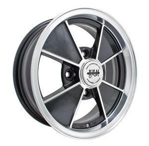 rim close 4 pattern 4 spoke BRM gloss black & polished alloy 15 x 4.5 Empi