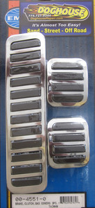 pedal pad set - brake, clutch, gas pedal covers - rubber & chrome Empi