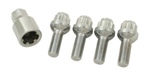 wheel lock bolt set 5 lug 12 x 1.5 set of 4 ball chrome Empi