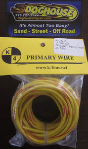 Primary wire 14 gauge yellow & red striped K-Four 20'