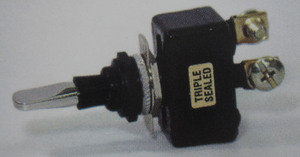 switch - toggle sealed ON OFF ON Chrome 50 amp single pole K-Four screw