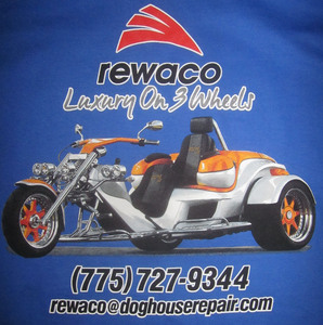 Luxury On 3 Wheels Tee sizes Large and more Blue