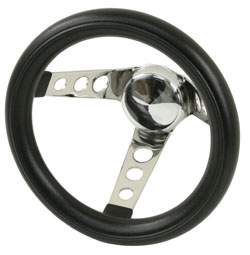 "steering wheel 10"" steel chrome 3 spoke 5 1/2"" deep dish foam Empi"