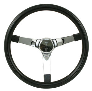 "steering wheel 13 1/2"" steel chrome 3 spoke 3 1/2"" deep dish foam Empi"