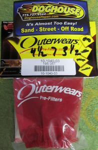 "outerwear RED for 4 1/2"" x 7"" x 3 1/2"" with top"