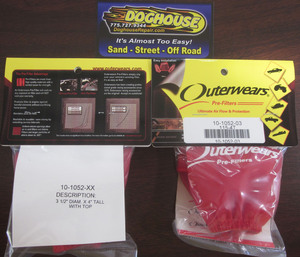 "outerwear RED for cone style 9002, 9004 & 8540 filters 3 1/2"" x 4"""
