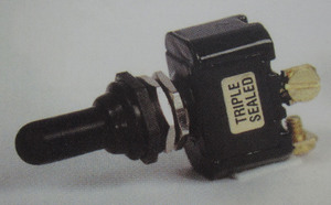 switch - toggle sealed (ON) OFF (ON) 20 amp single pole K-Four screw