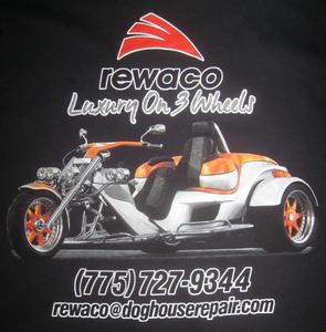 Luxury On 3 Wheels Tee sizes Large and X Large Black