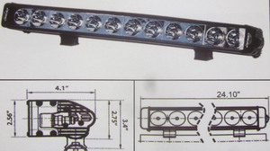 "Discovery 10 watt single row LED light - spot Black 12 LED's 24"""