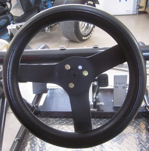 "steering wheel 10 1/4"" steel black 3 spoke 2 1/2"" deep dish foam Empi"