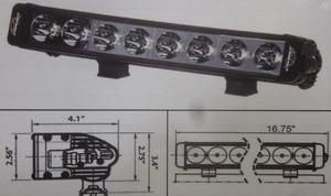 "Discovery 10 watt single row LED light - spot Black 8 LED's 16"""