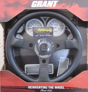 "steering wheel 13"" alloy black 3 spoke 3"" deep dish - Grant Empi"