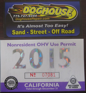 1 Non Resident sticker for California OHV's - 2015 by Priority Mail insured