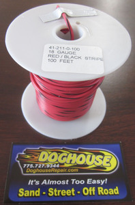 Primary wire 18 gauge red & black striped K-Four 100'