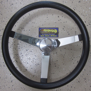 "steering wheel 14 3/4"" steel chrome 3 spoke 4"" dish foam Empi"
