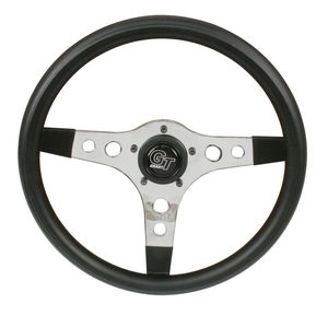 "steering wheel 13"" steel chrome 3 spoke 3 1/2"" deep dish foam Empi"