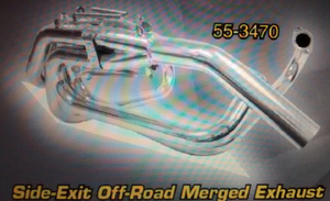 "exhaust street/offroad system merged 1 5/8"" side exit painted Empi"