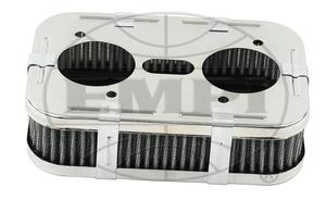 "air filter chrome for 40-44-48 HPMX, IDF & DRLA Rectangular 1 5/8"" tall Empi Type 3"