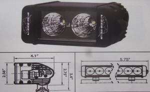 "Discovery 10 watt single row LED light - spot Black 2 LED's 6"""