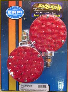 taillights LED chrome back Red lens round - PAIR - Empi