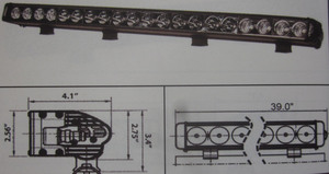 "Discovery 10 watt single row LED light - spot Black 20 LED's 40"""