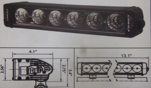 "Discovery 10 watt single row LED light - spot Black 6 LED's 12"""