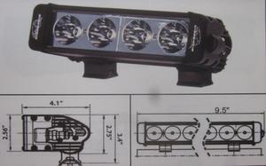 "Discovery 10 watt single row LED light - spot Black 4 LED's 10"""
