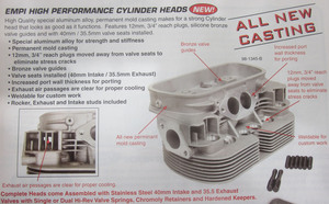 "cylinder head dual port 94 ssv, 40 x 35.5, 3/4"" plug, single springs Competition Empi ANC"