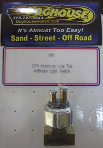 "brake line aluminum tee american ""T"" w/ brake switch - CNC"